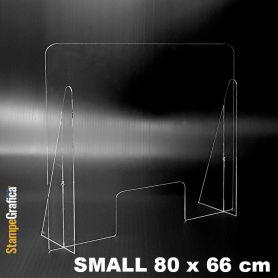 Schermo di protezione da banco 80 x 66 cm in plexiglass trasparente. SMALL