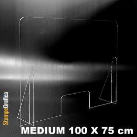 Schermo di protezione da banco 100 x 75 cm in plexiglass trasparente. MEDIUM