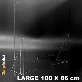 Schermo di protezione da banco 100 x 86 cm in plexiglass trasparente. LARGE
