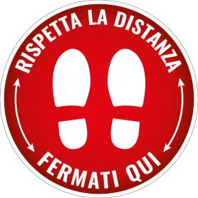 """Sign sticker """"RESPECT THE DISTANCE,"""" STOP HERE."""" (round/red) Alert safety health emergency."""