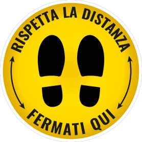 """Sign sticker """"RESPECT THE DISTANCE,"""" STOP HERE."""" (round/yellow) Alert safety health emergency."""