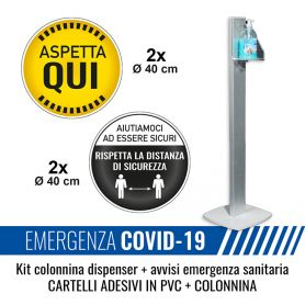 Kit colonnina dispenser + 4 cartelli avviso di sicurezza emergenza sanitaria