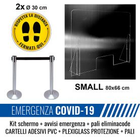 Kit base schermo di protezione + 2 pali con nastro + cartello adesivi con indicazioni di sicurezza emergenza sanitaria.