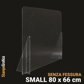 Schermo di protezione da banco 80 x 66 cm senza fessura, in plexiglass trasparente. SMALL