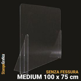 Schermo di protezione da banco 100 x 75 cm senza fessura, in plexiglass trasparente. MEDIUM