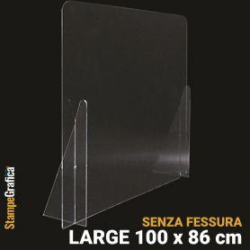 Schermo di protezione da banco 100 x 86 cm senza fessura, in plexiglass trasparente. LARGE