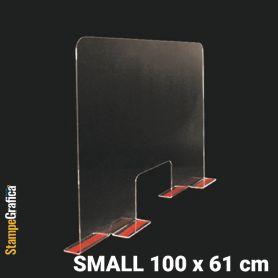 Schermo di protezione da banco 100 x 61 cm in plexiglass trasparente con biadesivo. SMALL