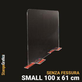 Schermo di protezione da banco 100 x 61 cm senza fessura, in plexiglass trasparente con biadesivo. SMALL