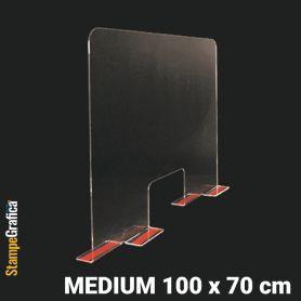 Schermo di protezione da banco 100 x 70 cm in plexiglass trasparente con biadesivo. MEDIUM
