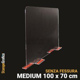 Schermo di protezione da banco 100 x 70 cm senza fessura, in plexiglass trasparente con biadesivo. MEDIUM