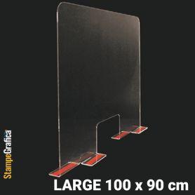 Schermo di protezione da banco 100 x 90 cm in plexiglass trasparente con biadesivo. LARGE