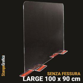 Schermo di protezione da banco 100 x 90 cm senza fessura, in plexiglass trasparente con biadesivo. LARGE