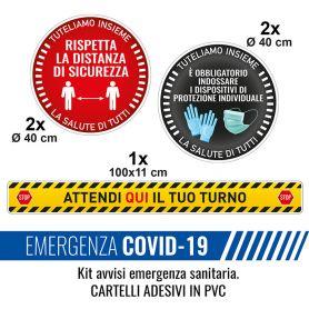 Kit de base de 5 autocollants avec des informations de sécurité dans une situation d'urgence sanitaire.