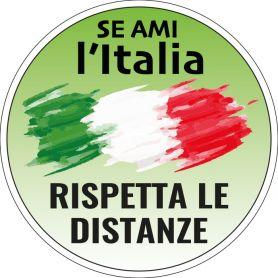 """Adesivo """"Se ami l'Italia, rispetta le distanze"""" tondo in PVC"""