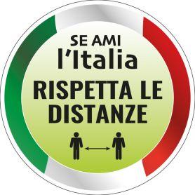 """Adesivo """"Se ami l'Italia, rispetta le distanze"""" tondo in PVC mod. 2"""