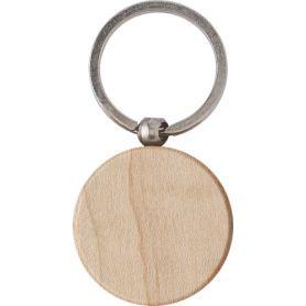 Portachiavi tondo in legno e metallo personalizzabile con il tuo logo