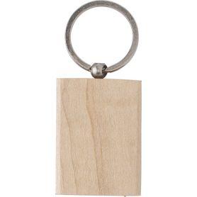 Portachiavi rettangolare in legno e metallo personalizzabile con il tuo logo