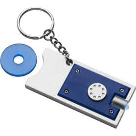 Keychain with led light and door/coin, token coin, customized with your logo. 8517