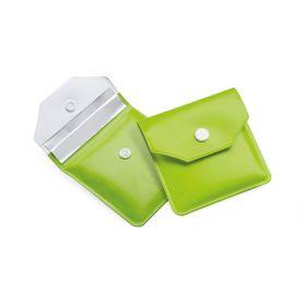 Posacenere tascabile ingnifugo verde 8 x 8 cm, personalizzabile con il tuo logo