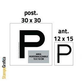 """Adesivi """"P"""" per Neopatentati ( anteriore + posteriore ), personalizzabili con il tuo logo"""