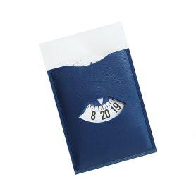Mini disco temps autocollant bleu 7.3 x 11,5 cm, personnalisable avec votre logo