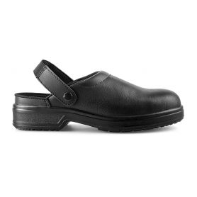Slipper, Shoe Staff, with strap, PPE 2nd category SB E FO SRC - Black