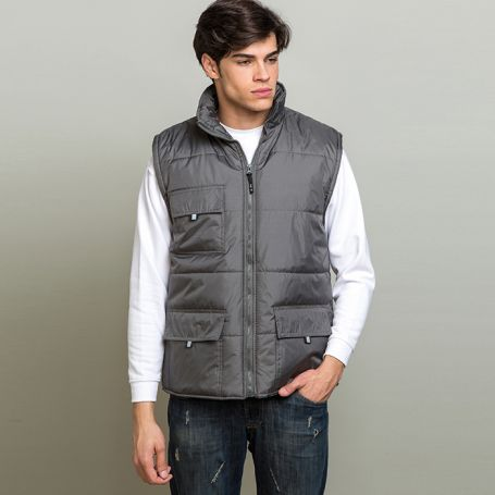 Jacket sleeveless top in polyester pongee, Unisex, Ale