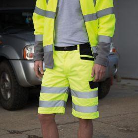 Pantaloncini giallo fluo con bande riflettenti, Unisex, Result