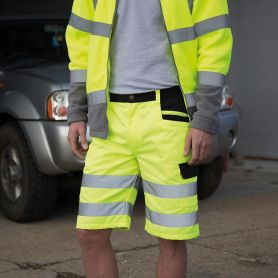 Shorts fluo yellow with reflective bands, Unisex, Result