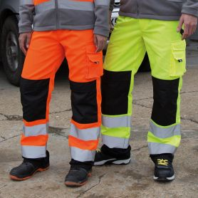 Trousers high visibility, elasticated waist, reflective bands, Unisex, Result