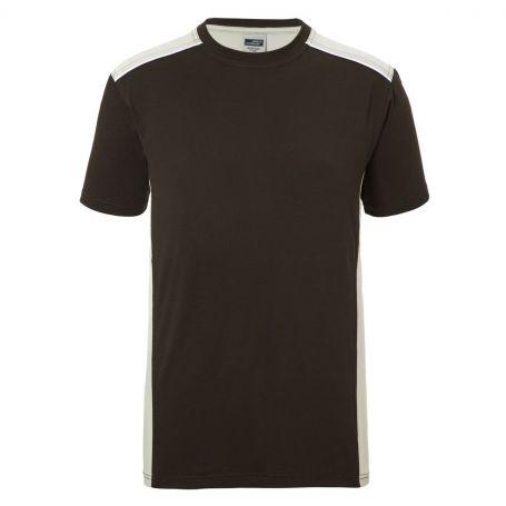 T-Shirts pour Hommes, Vêtements de travail, Brun 50.50, Unisexe, James & Nicholson
