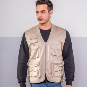 Vest multipockets sleeveless top Reporter, Unisex, Black Spider