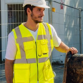 Vest multi-function, high-visibility Yellow. EN ISO 20471:2013 + A1:By 2016, the Oeko-Tex® Standard 100